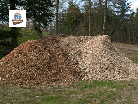 Photo of mulch piled up after a tree mulching service in Falls Church VA