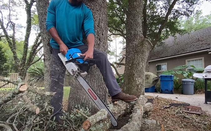Cutting tree trunk Genesis Tree Service